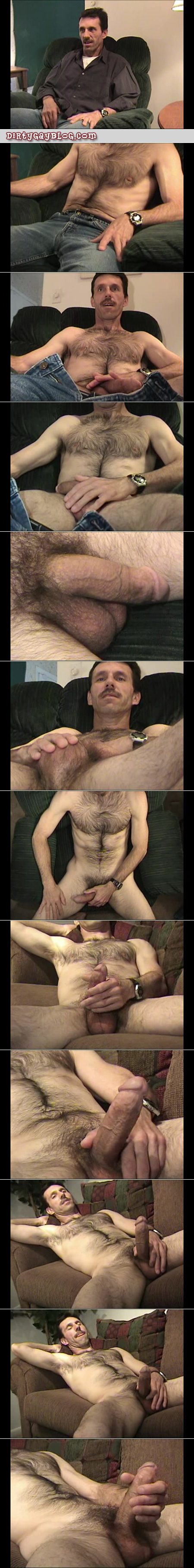 Very hairy older straight man masturbating his big dick on the couch.