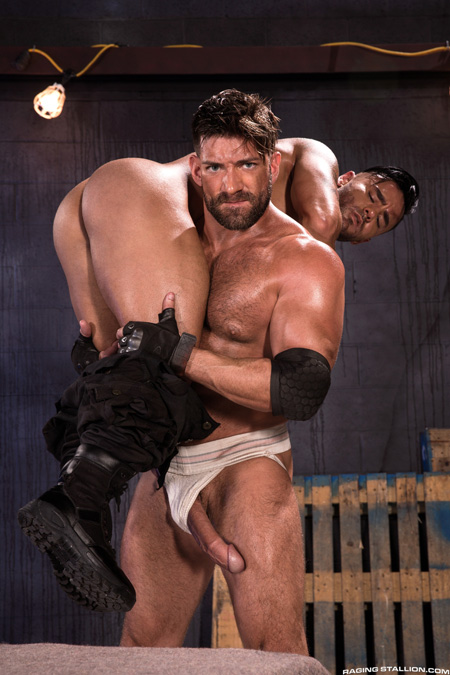 Muscle Daddy exposes his monster cock in a dirty jockstrap.