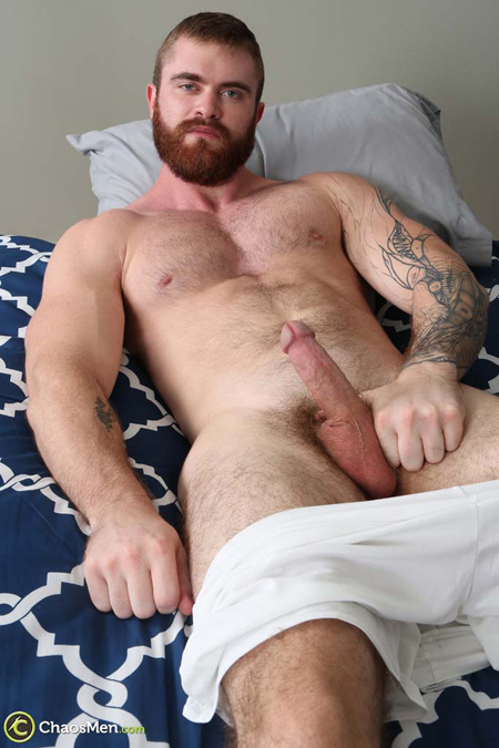 Hairy, bearded muscular ginger man nude.