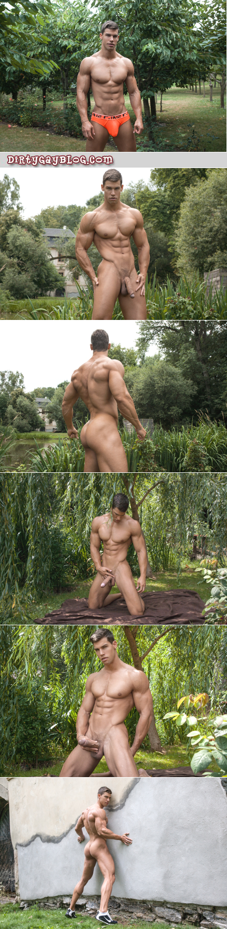 Well-Hung muscle stud showing off his bodybuilder body and veiny horse cock.