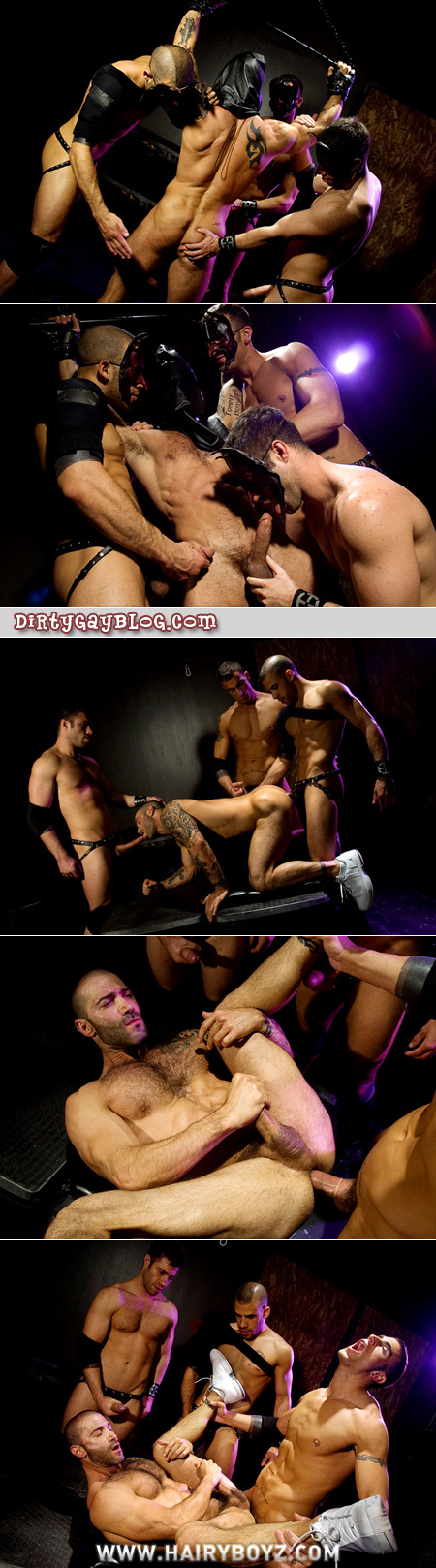 Gay group sex in leather