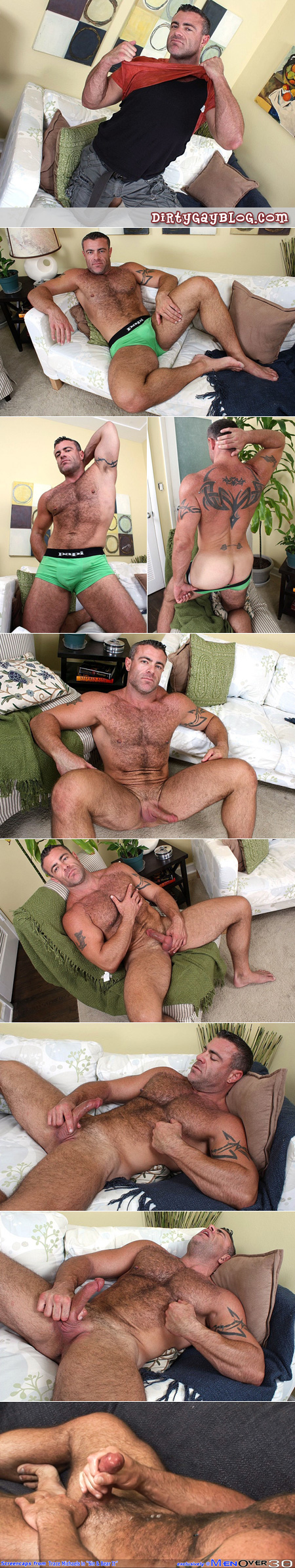 Butch, burly, hairy man jerking off