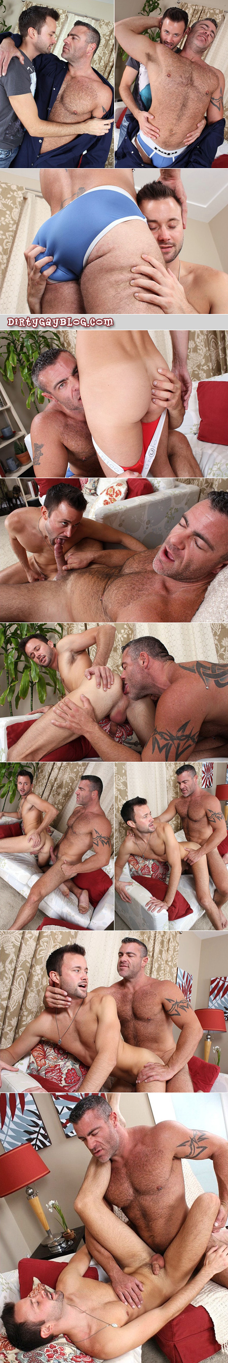 Butch hairy muscle top fucks a slim twink with a beard