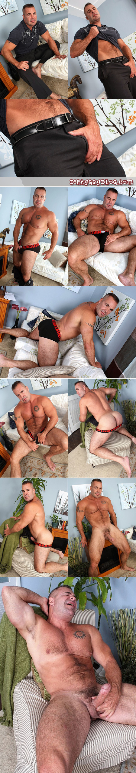 Hairy muscles pack into tight black briefs, this mature muscular bear jacks off on himself