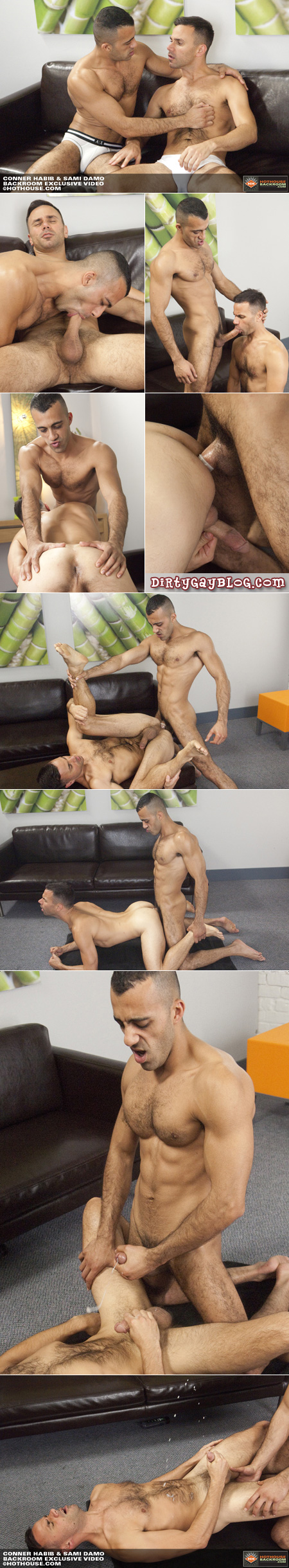 Hairy, exotic men make loud noisy gay sex on the floor and shoot huge fountains of cum.