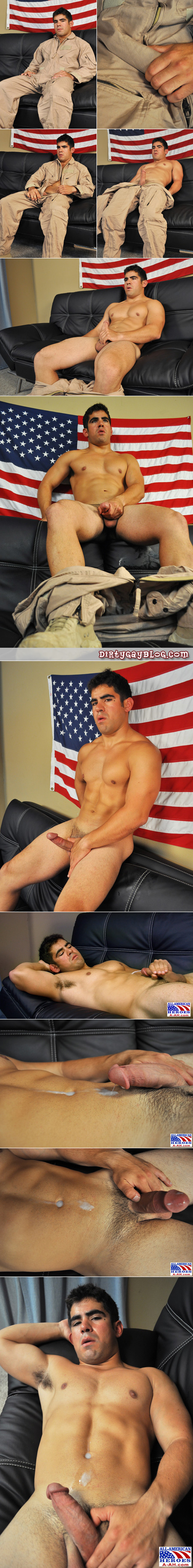 Muscular Latino navy airman pulls his thick dick out of his jumpsuit, masturbating, and shoots cum into his navel with his hairy armpits showing.