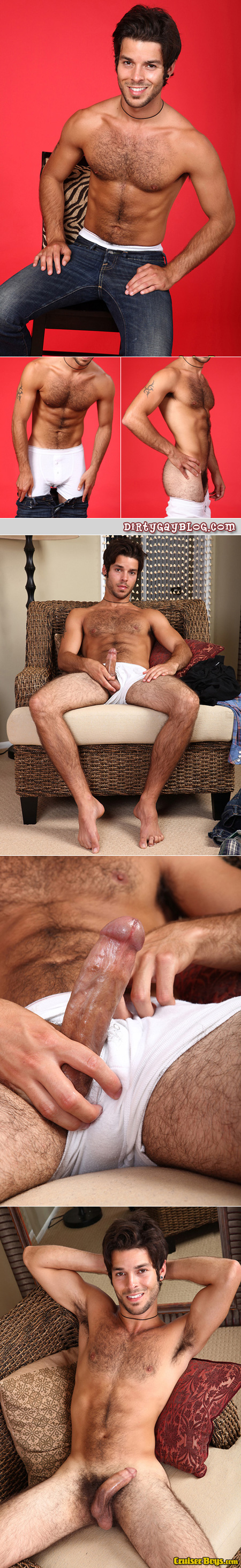 This hairy Puerto Rican and German male wears white boxer briefs really well.