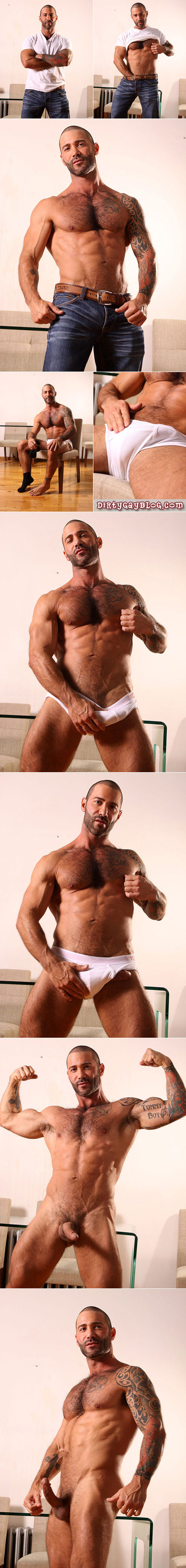 Hard-muscled, hairy and well-hung describe this powerhouse of gay porn.