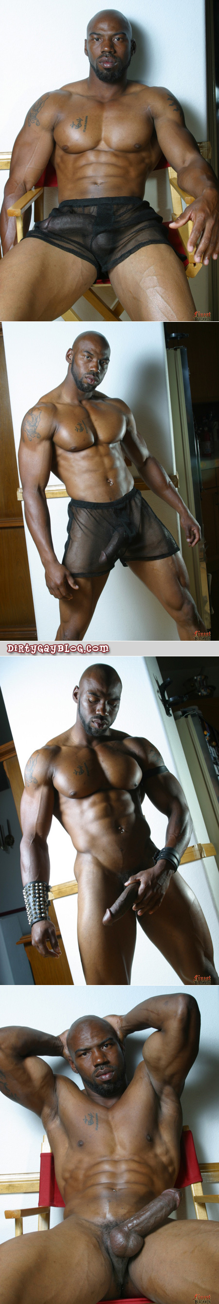 "A towering massive black man appropriately nicknamed ""The Tank"" teases us with his huge black cock in see-through shorts, stroking it until it's rock hard."
