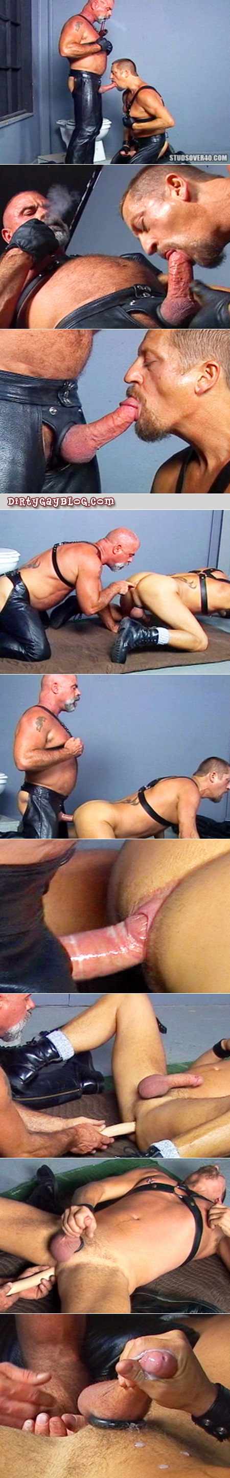 Older leather men know how to make gay sex work.  They can really getting their hairy bottom men to cum!
