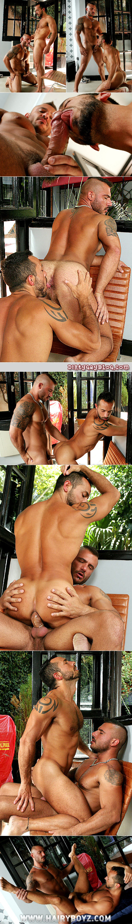 Two gorgeous, muscular men have masculine gay sex in the outdoor guest house.