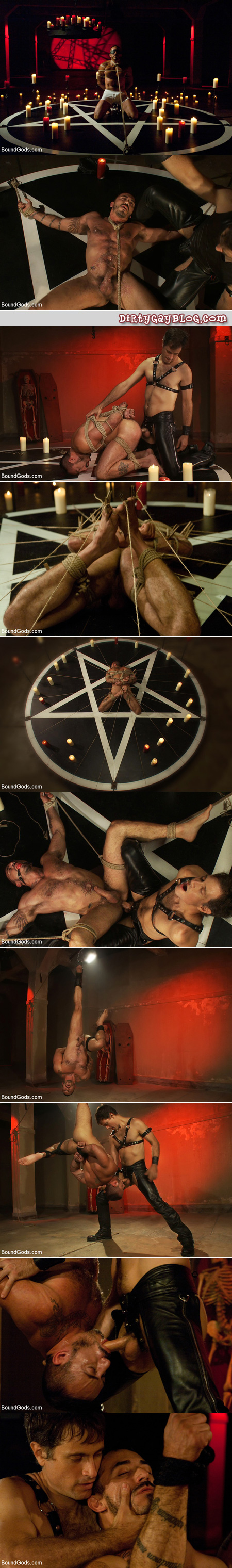 A hairy male stud is tied up by his leather master and treated to rope, bondage, candle wax, ball gags, clothespins and more.