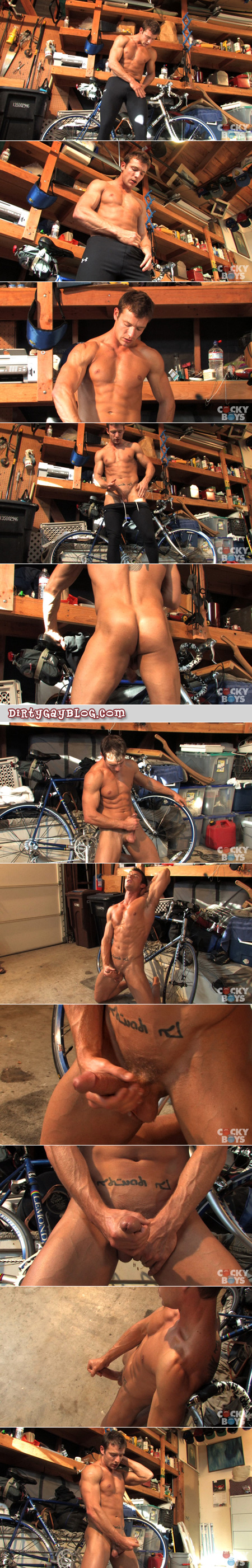 Muscular young athlete puts his bike in the garage before working his erection through his tight lycra compression pants.