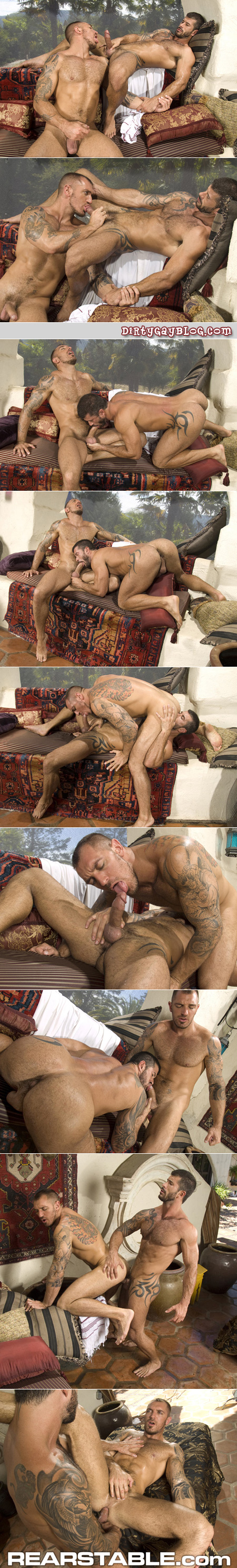 Two hairy, beefy studs play with each other's muscle cocks in the hot desert sun.