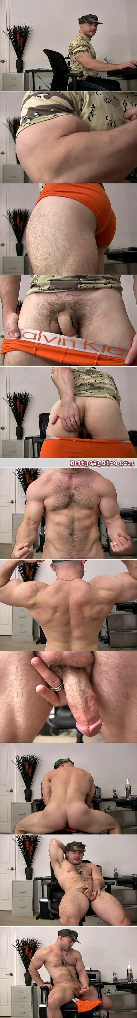 Muscular and hairy, Jeff's male masturbation session is like an exhibitionist with a gay military fetish.