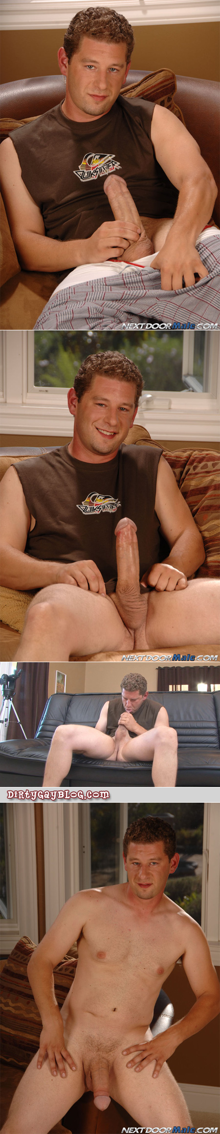 Curly haired straight guy sucks his own enormous cock.