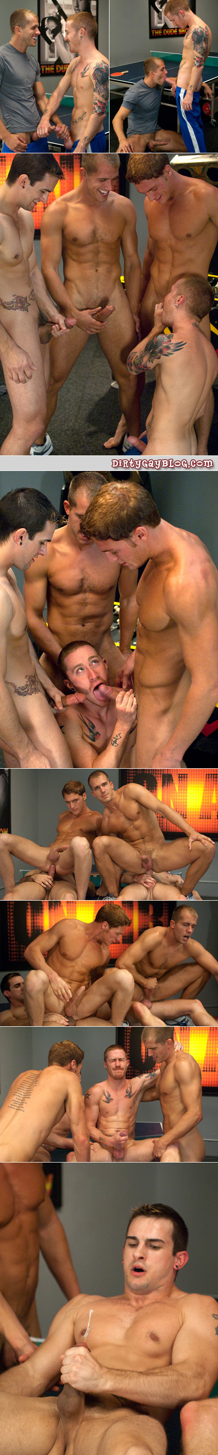 Four young, tattooed men have group gay sex together and get their enormous cocks off.