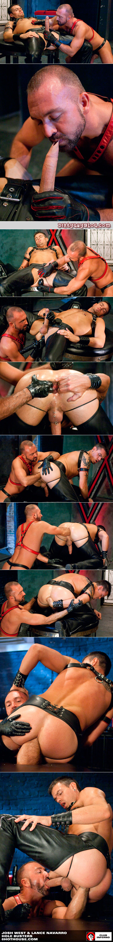 Two experienced leather men enjoy the limits of fisting, dildoes and male ass play together.