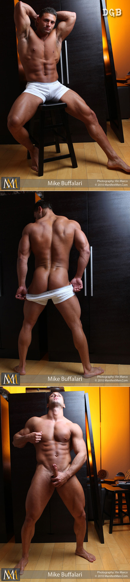 Tan, smooth and loaded with big muscles, Mike Buffalari in his boxer briefs is definitely worth worshipping.