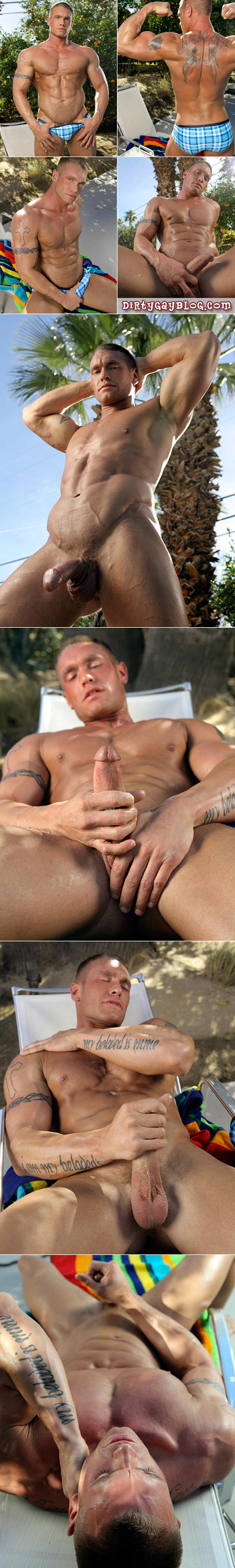 Sneak up on this male blonde bodybuilder as he pulls his dick out of his Speedos and gives me a show.