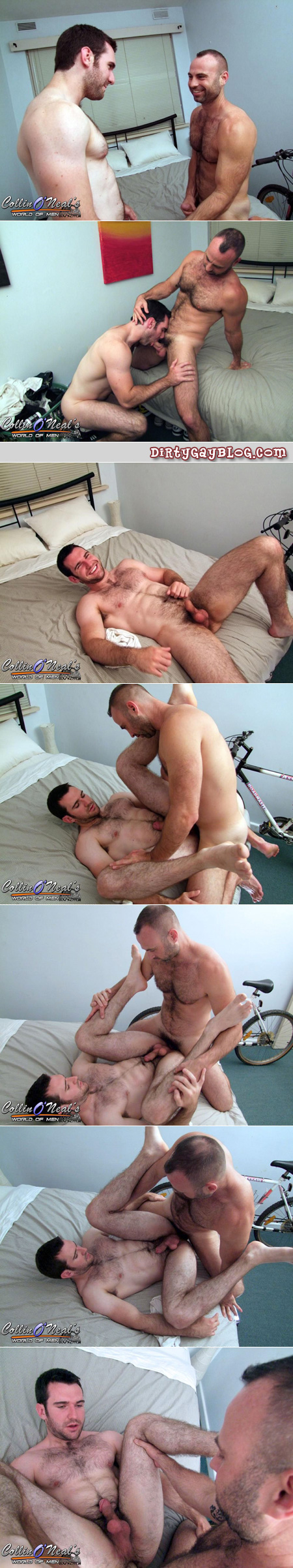 Two hairy guys, one bear and one muscle, gets their balls off together.