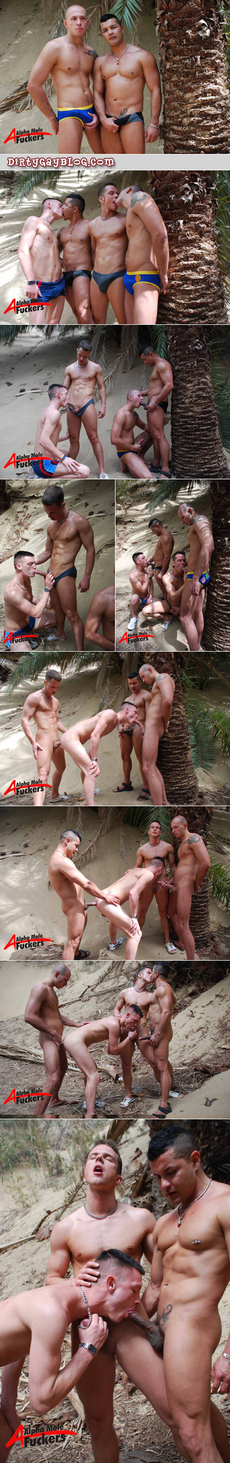 Four young guys in Speedos with big bulges have anonymous group sex on the beach together.