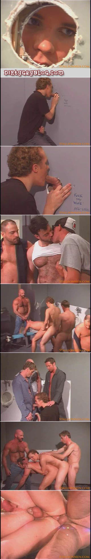 Horny butch bears have group gay sex in the truck stop bathroom.