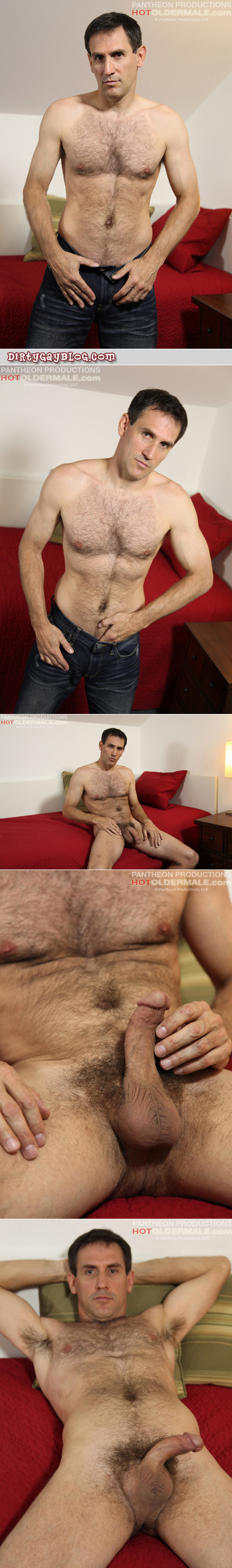Here's a hairy Daddy masturbating on the couch.