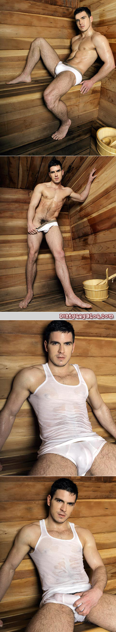 Hairy young brit with zero body fat sweats through his tight white underwear in the sauna.