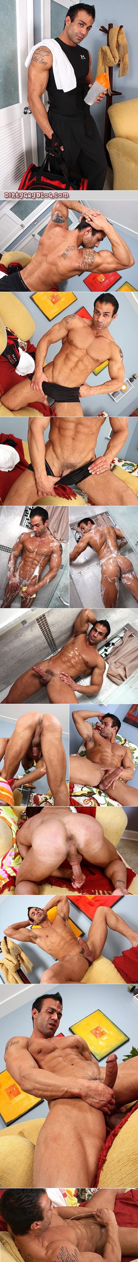 Hot Italian muscle man overdoes his manscaping but makes up for it in sex appeal and cum.