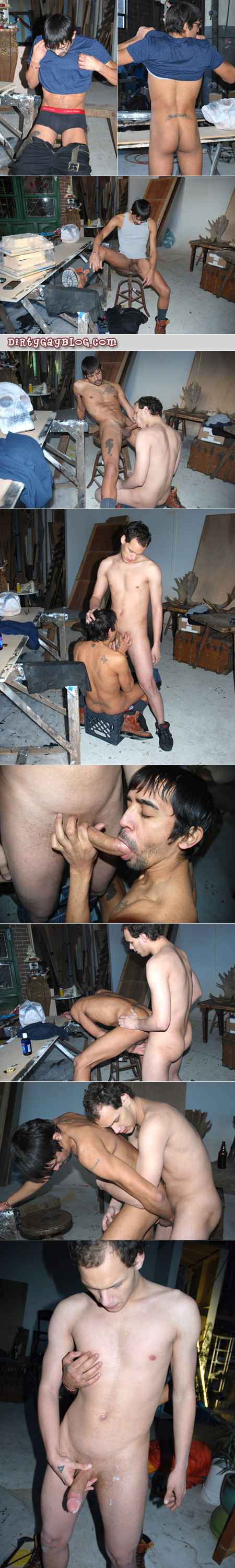 Young tattooed guy gets caught masturbating by another guy in a warehouse workshop.