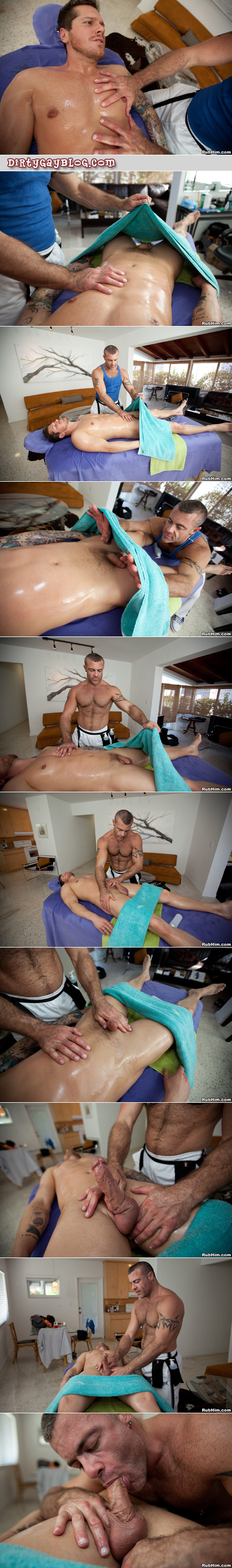 Hairy, muscular masseur takes liberties with his male massage clients.