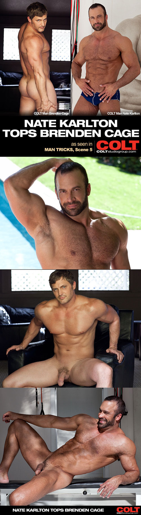 Hairy muscle Daddy tops a male bodybuilder