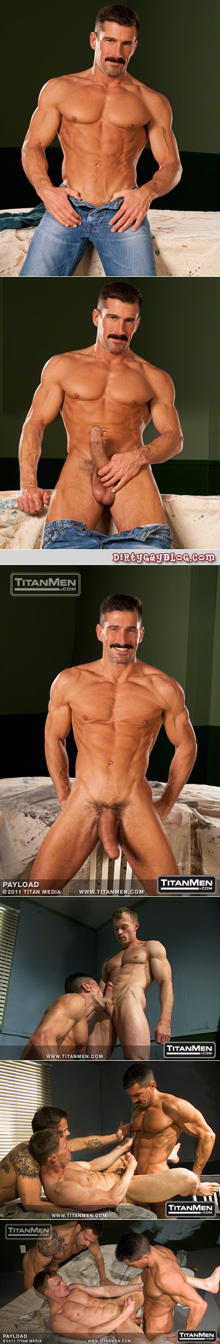 Lean muscle man with a thick mustache and an even thicker and gigantic cock.