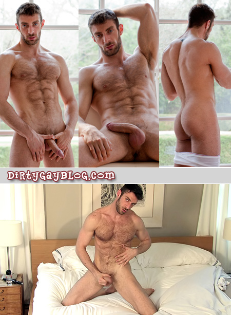 Ripped muscular hairy guy with six-pack abs masturbates in bed by the window.