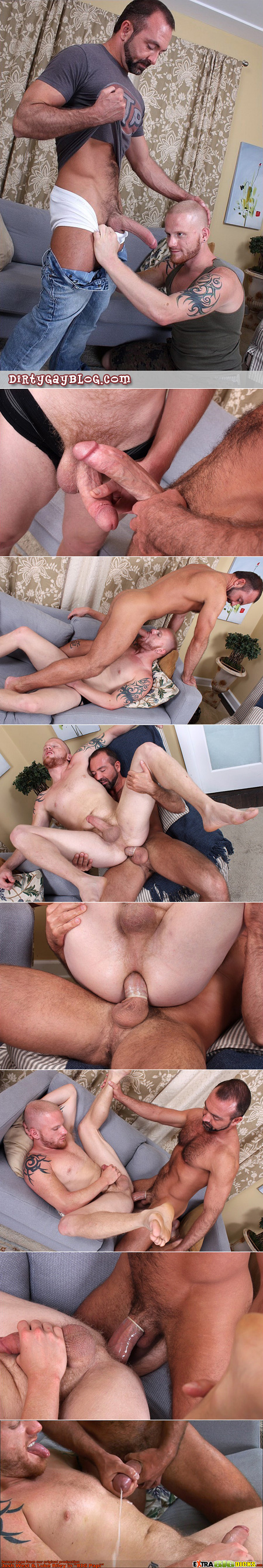 Bearded wolf male uses his gigantic cock to fuck a redhead guy with a shaved head.
