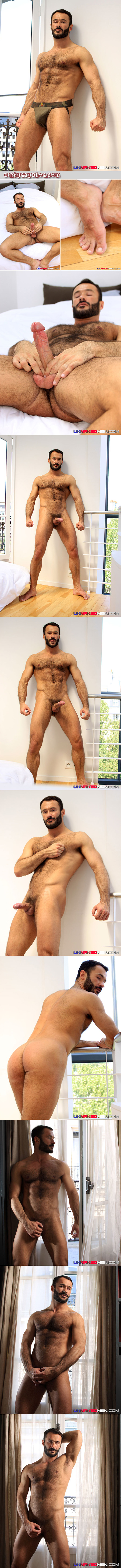 Very hairy, handsome, muscular French guy masturbates to guys on camera.
