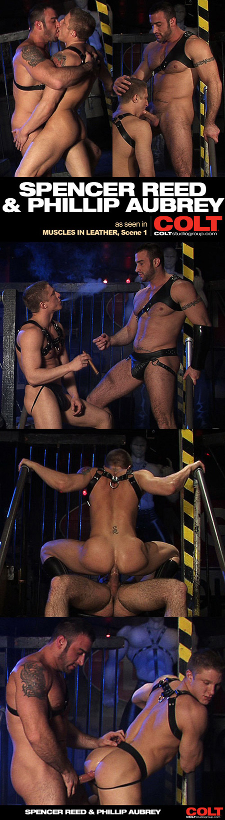 Muscular blonde leatherman in a jockstrap smokes cigars and gets fucked by a hairy beard, tattooed leather Daddy.