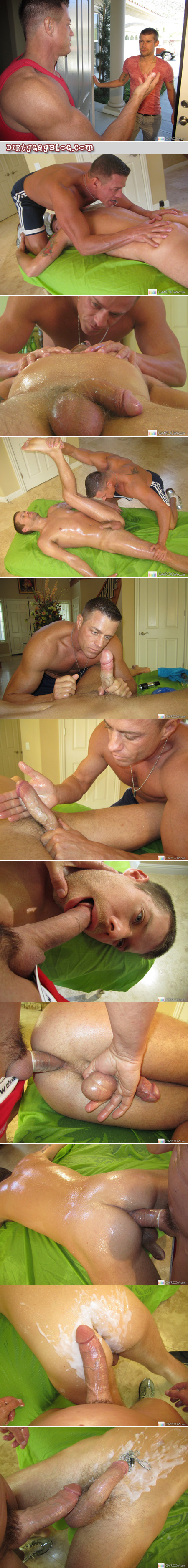 Muscular masseur gives a gay sex massage with his big dick and tons of cum.