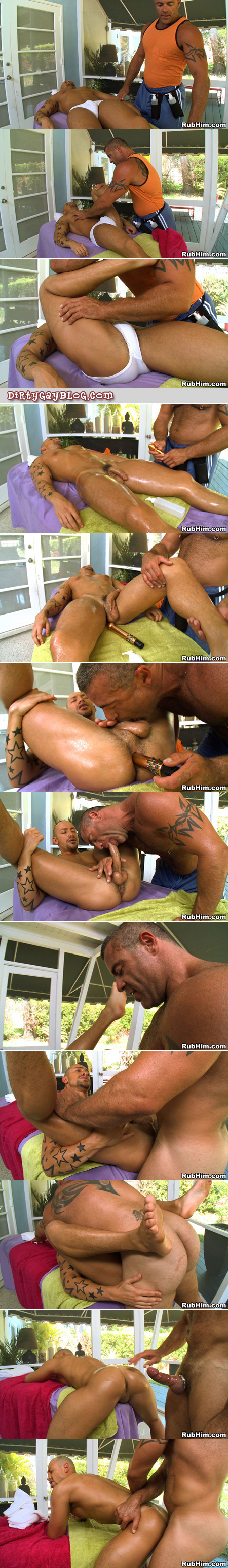 Tattooed, hairy muscle man massages guys inside and out in this free gay video.