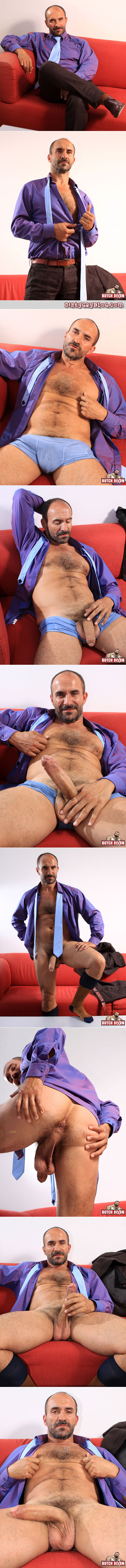 Hairy Frenchman in a suit jack off with his beard and big uncut cock.