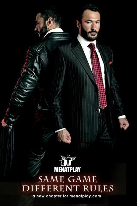 Hot, bearded Wilfried Knight sporting both a suit and tie and a leather jacket with strop.