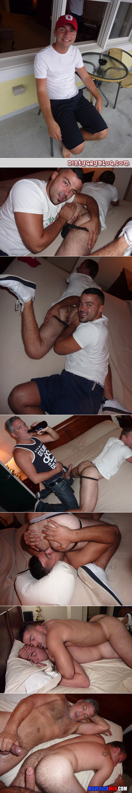 Hairy, mature gay couple pick up a hairy young guy on vacation and have a three-way with him in their hotel room.