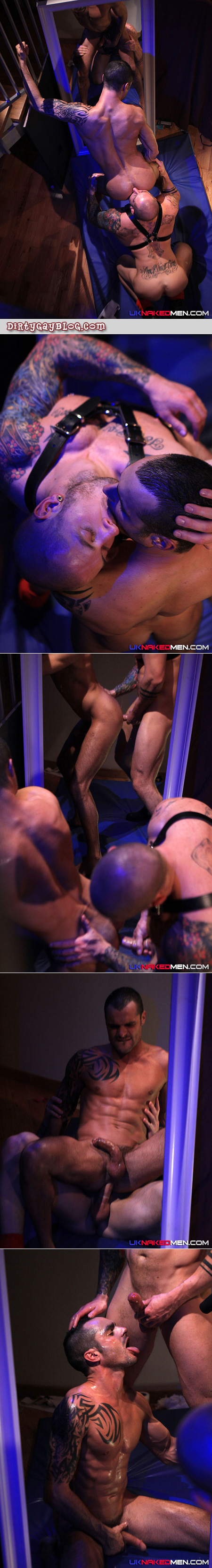 A beefy, tattooed guy in leather finds a thin, horny male with 6-pack abs to fuck in a darkroom.