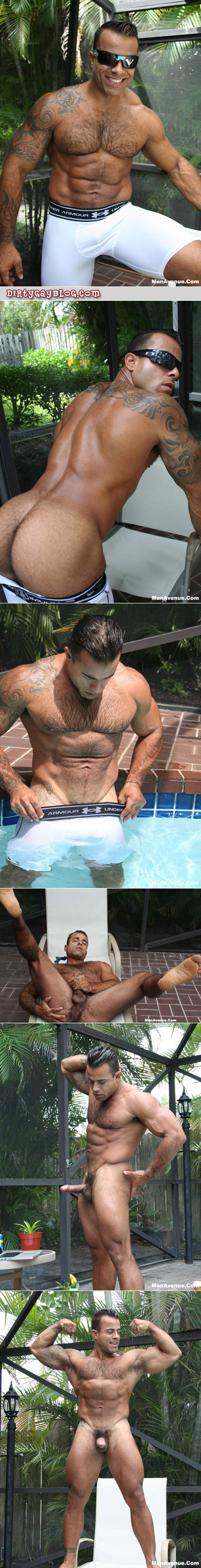Giant muscle Latino with tattoos in compression shorts gets naked, wet and hard by the pool.