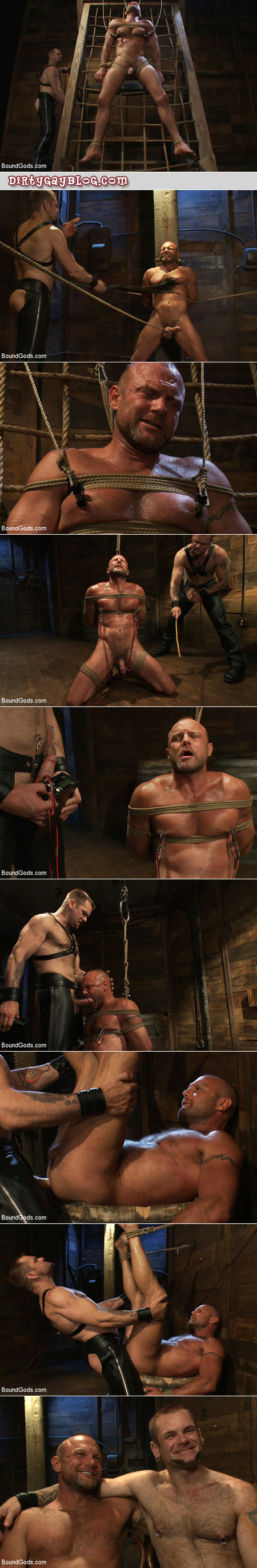 Macho hairy leathermen use gay bondage and e-stim to get off.