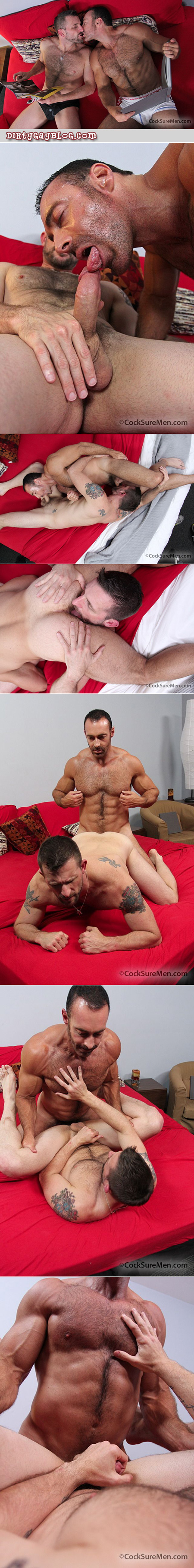 Veiny and muscular hairy guy fucks an eager hairy bottom after swapping gay rim jobs.