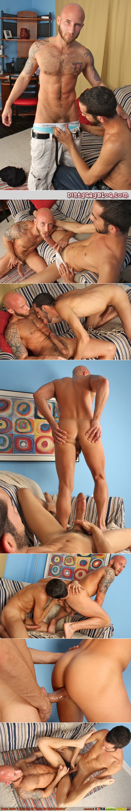 Fit, hairy, bald and bearded guy gets fucked by a large penis.