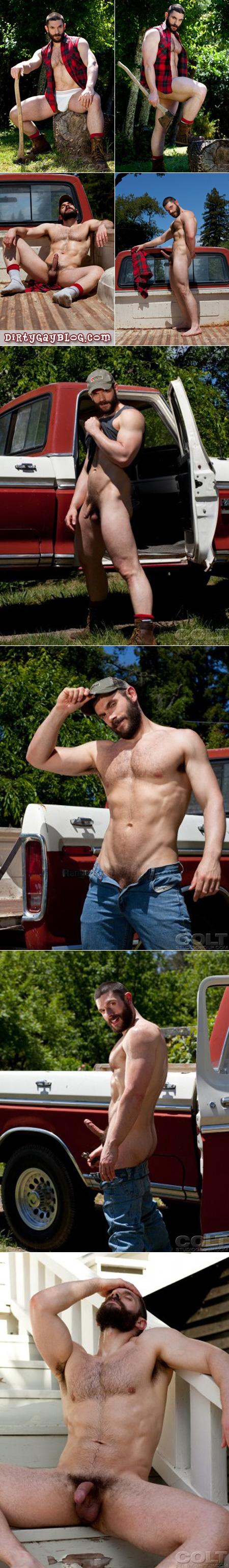 Hairy, bearded lumberjack gets naked in his pickup truck.