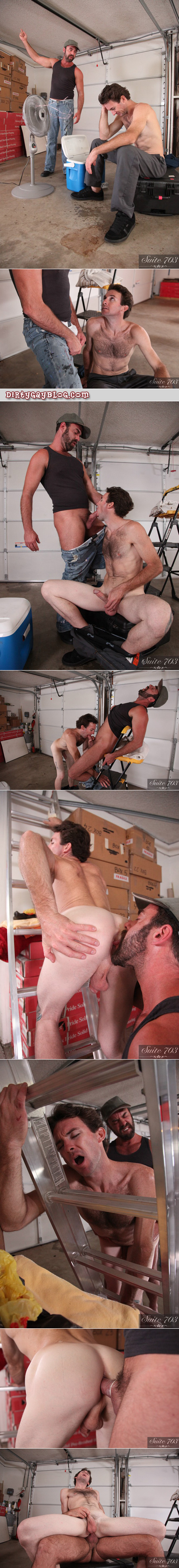 Two hairy older workmen have gay sex in the garage on the job site.